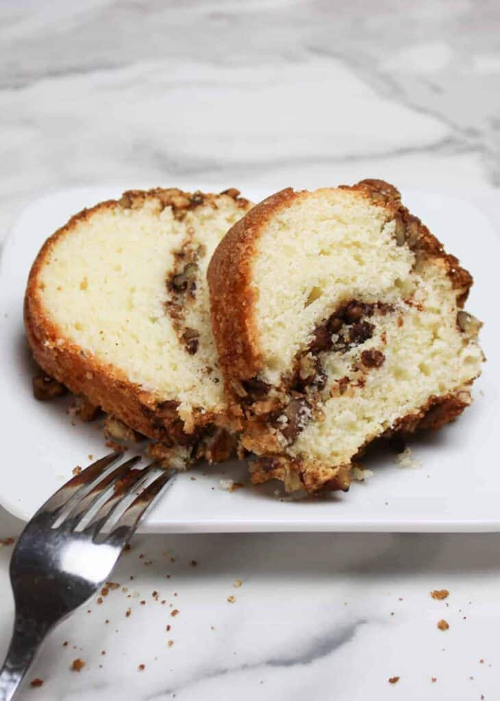 sour cream coffee cake on a plate