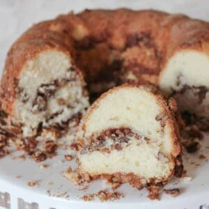 sour cream coffee cake on a platter