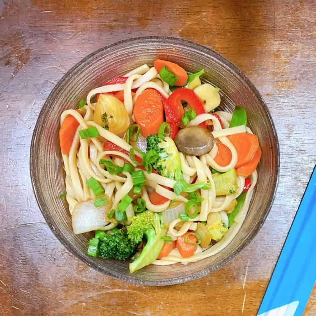 vegetable lo mein on a table