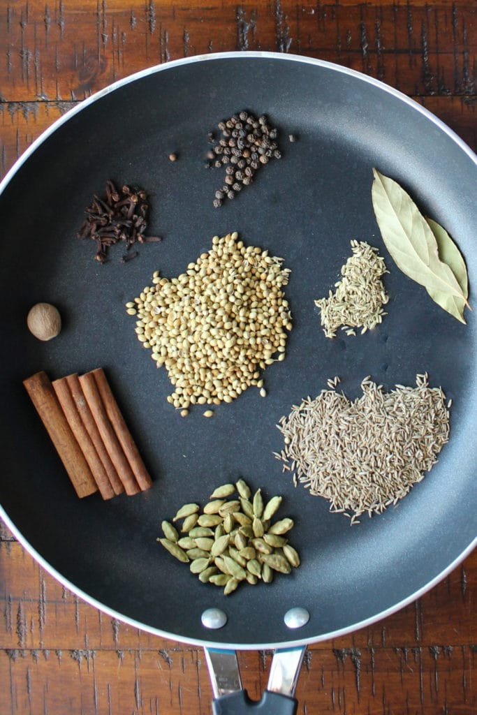whole spices in a pan