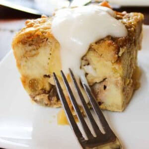 slice of bread pudding with sauce
