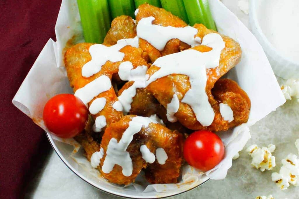 close up of buffalo wings with non-dairy ranch