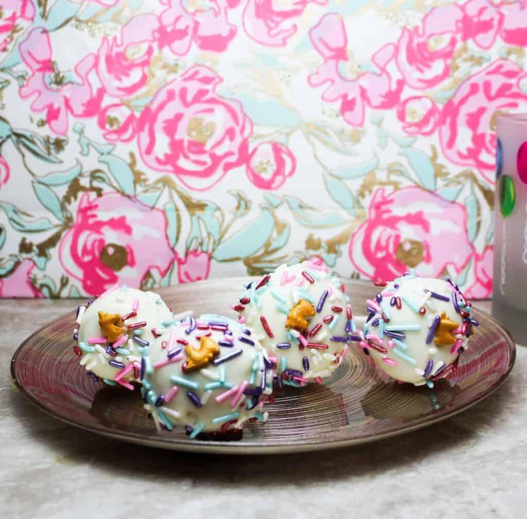 cake pops on a plate full shot