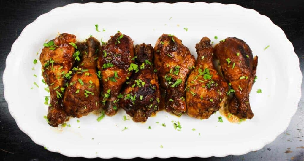slow cooker bbq chicken on a platter