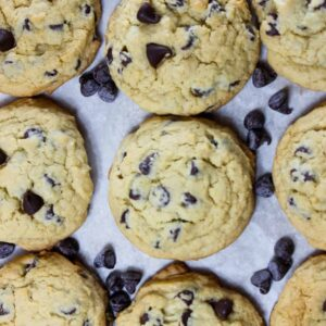 chocolate chip cookies in the pan