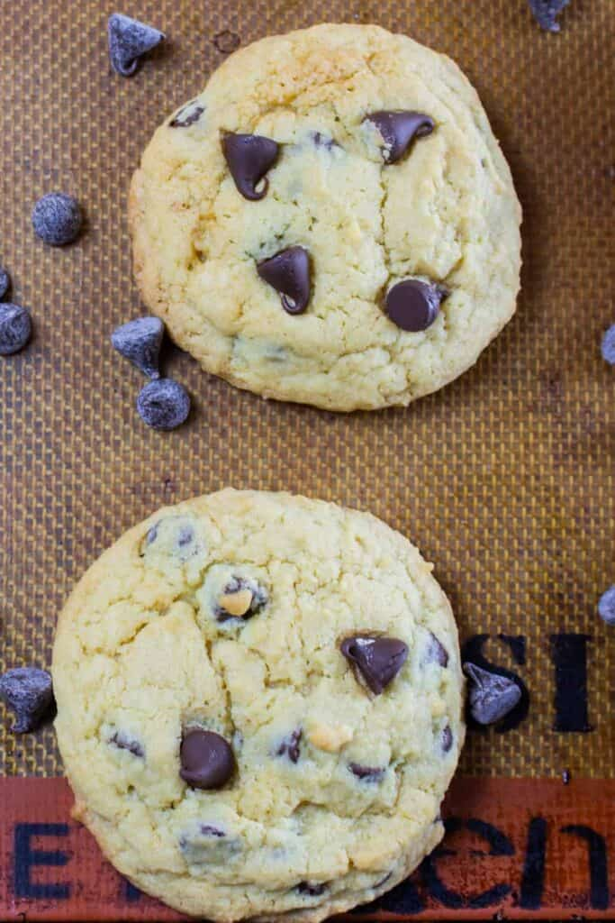 chocolate chip cookies on a pan