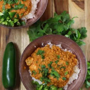 salmon tikka masala with cilantro and jalapeno