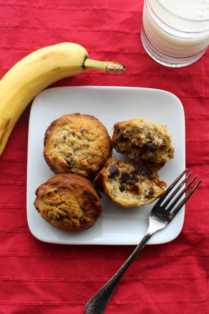 chocolate chip banana muffins on a plate