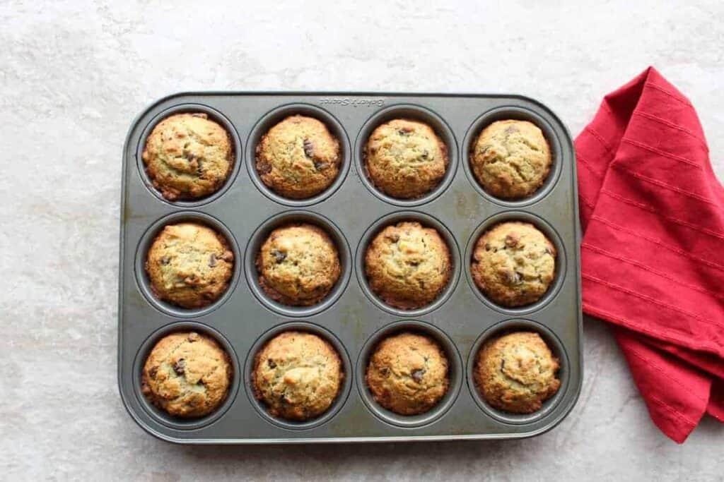 banana muffins in a muffin pan