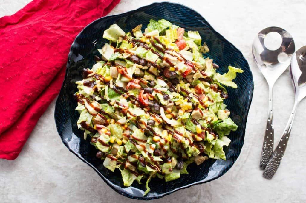bbq chicken salad in a bowl