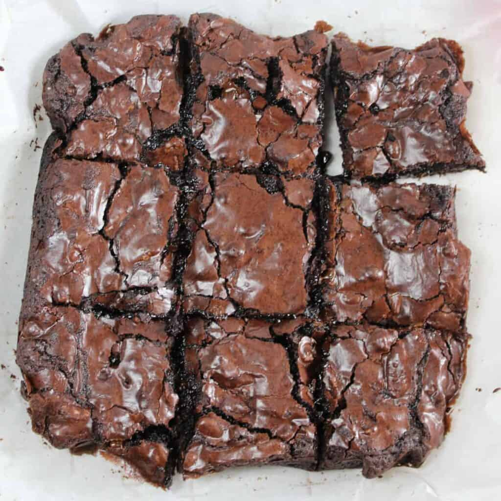 black forest brownie sliced