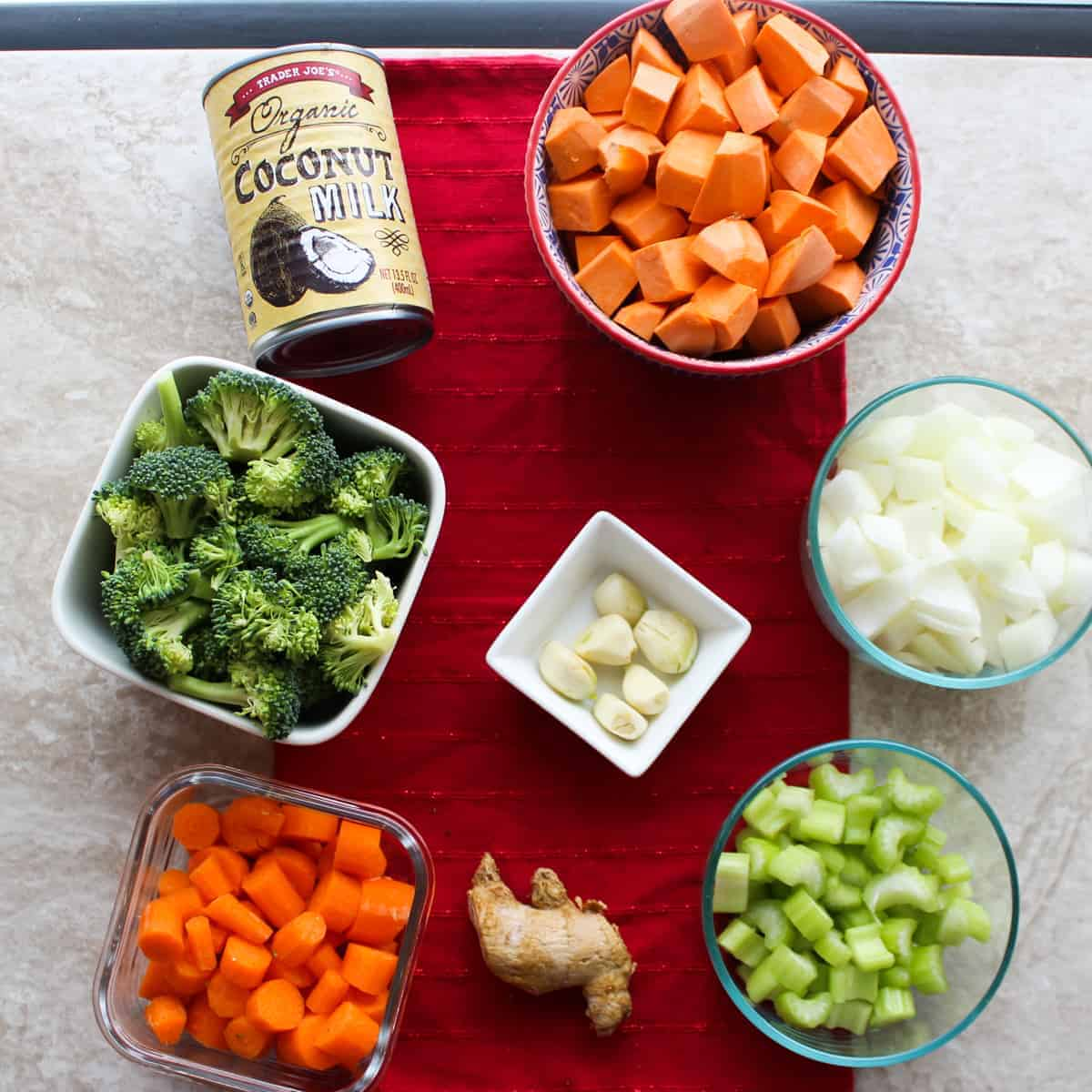 veggies for chicken coconut curry