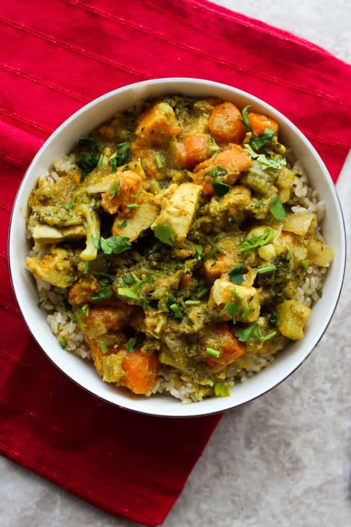 chicken curry with coconut milk in a bowl