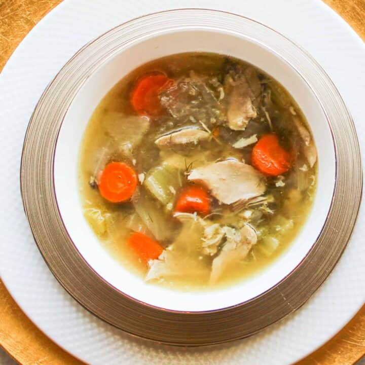 chicken soup in a bowl