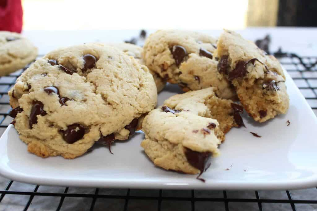gluten free Passover chocolate chip cookies on a plate