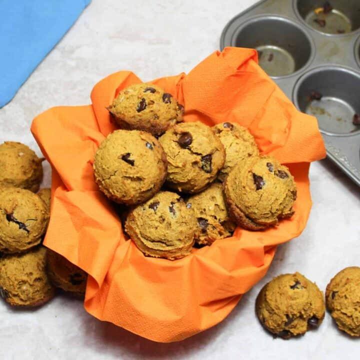 spiced pumpkin muffins in a basket