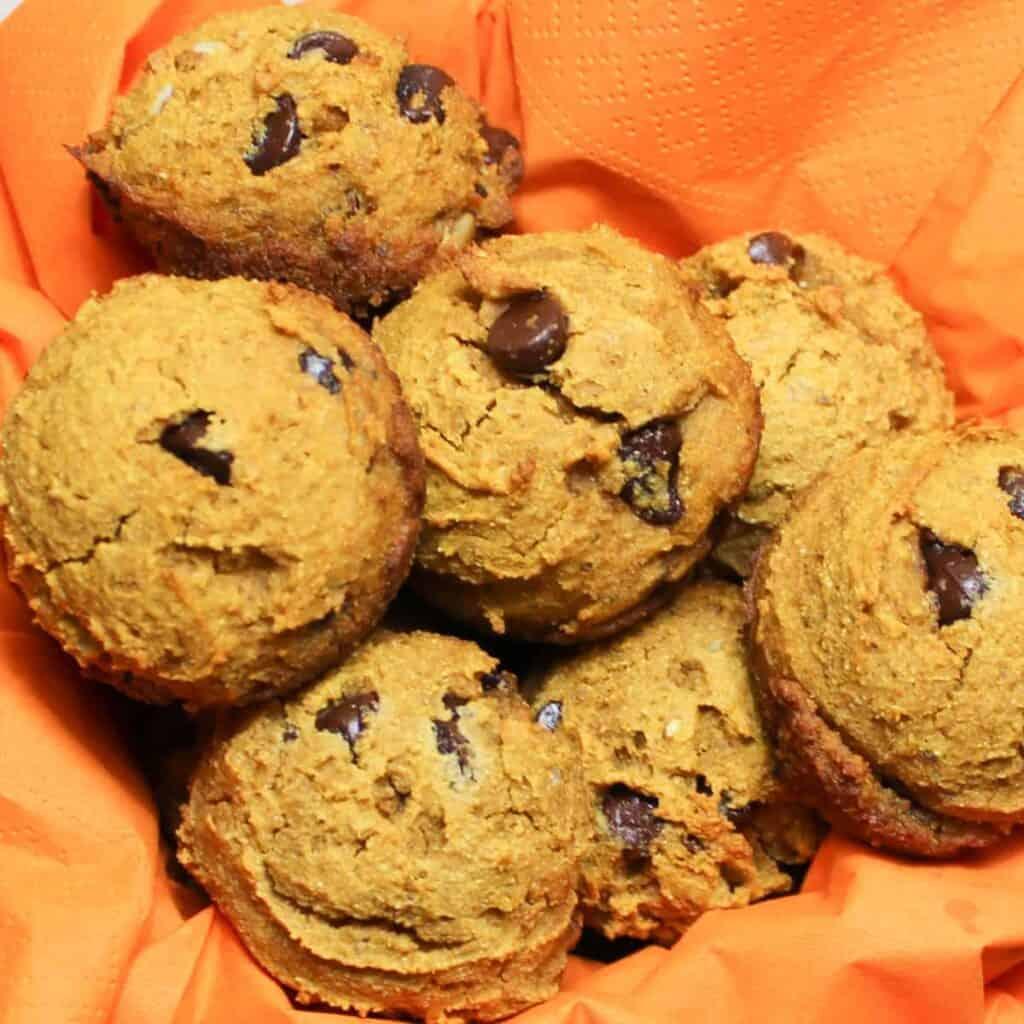 spiced pumpkin muffins on a napkin