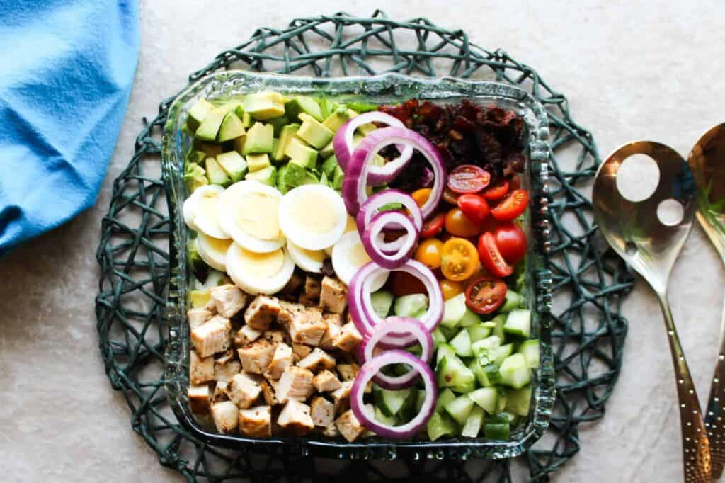 cobb salad ready to be dressed
