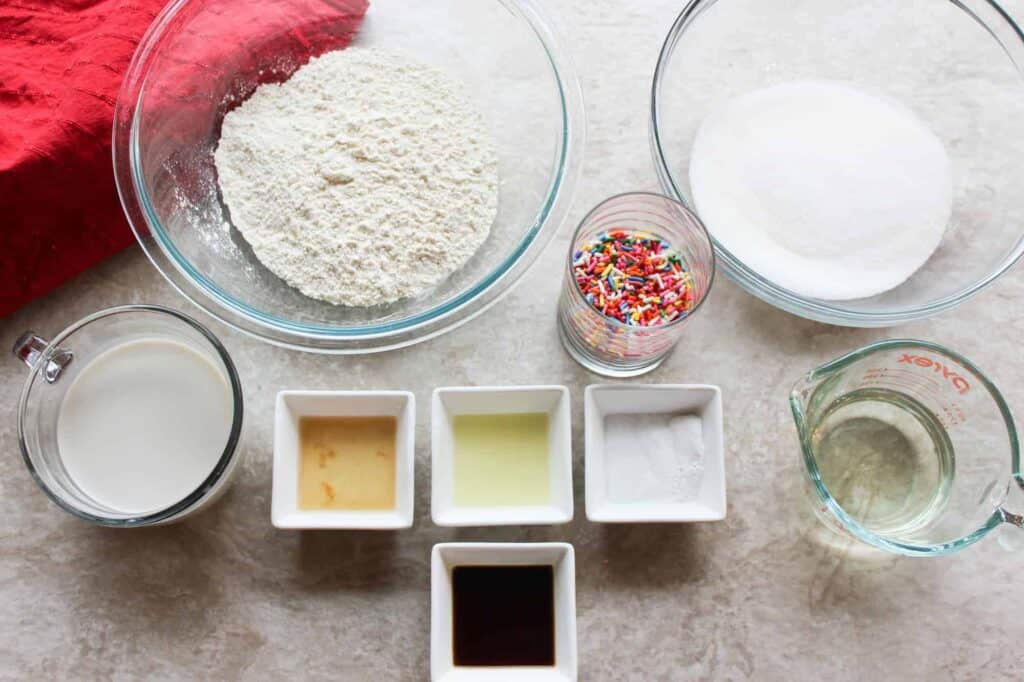 rainbow sprinkle cake ingredients