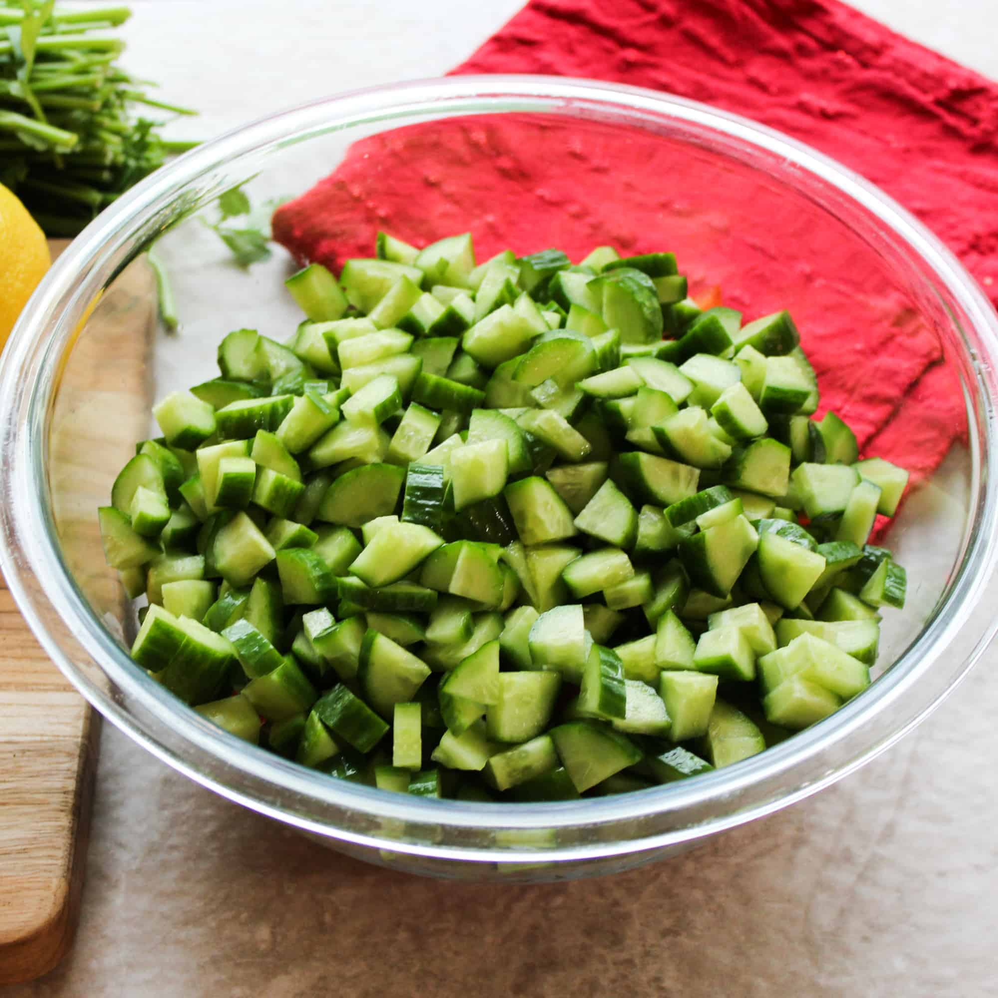 cut cucumbers