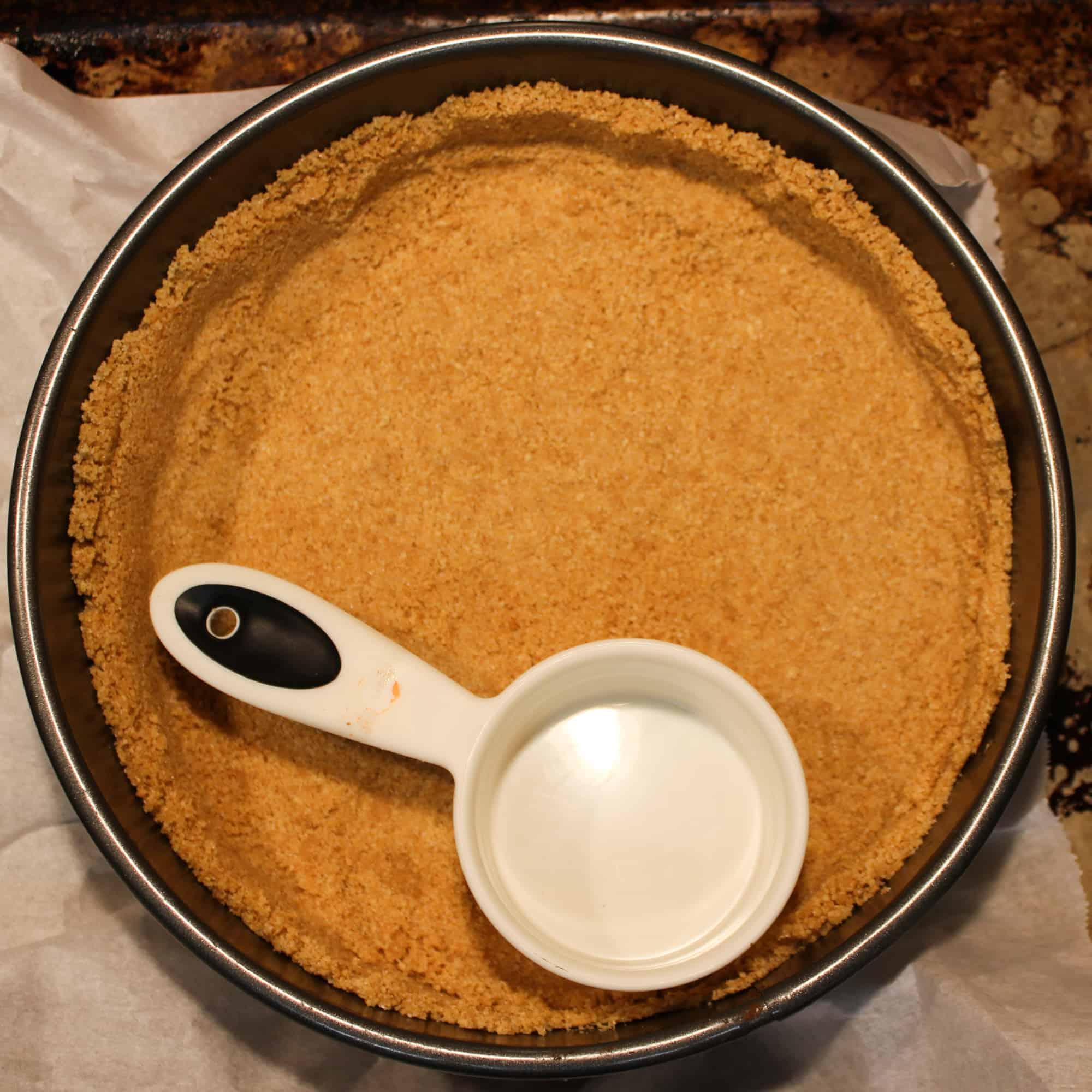 cheesecake crust in the pan