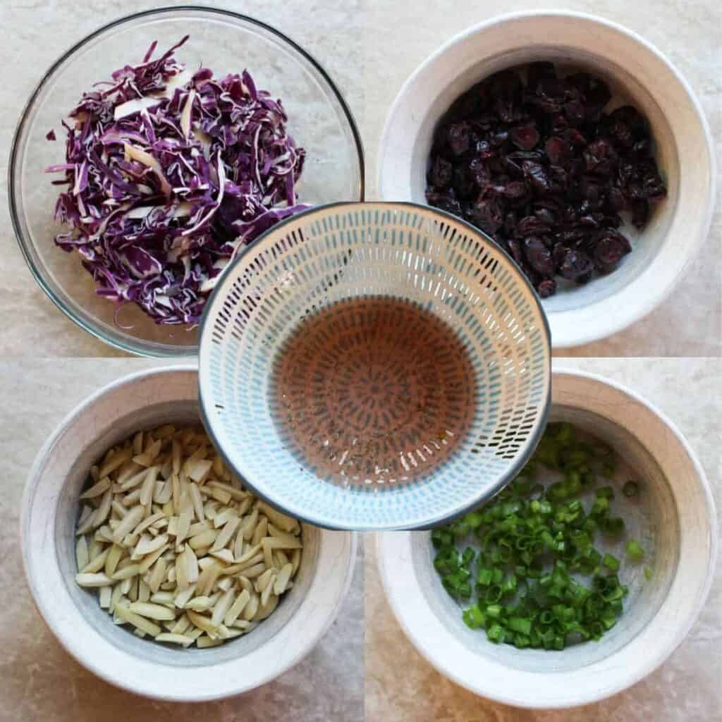ingredients for red cabbage salad