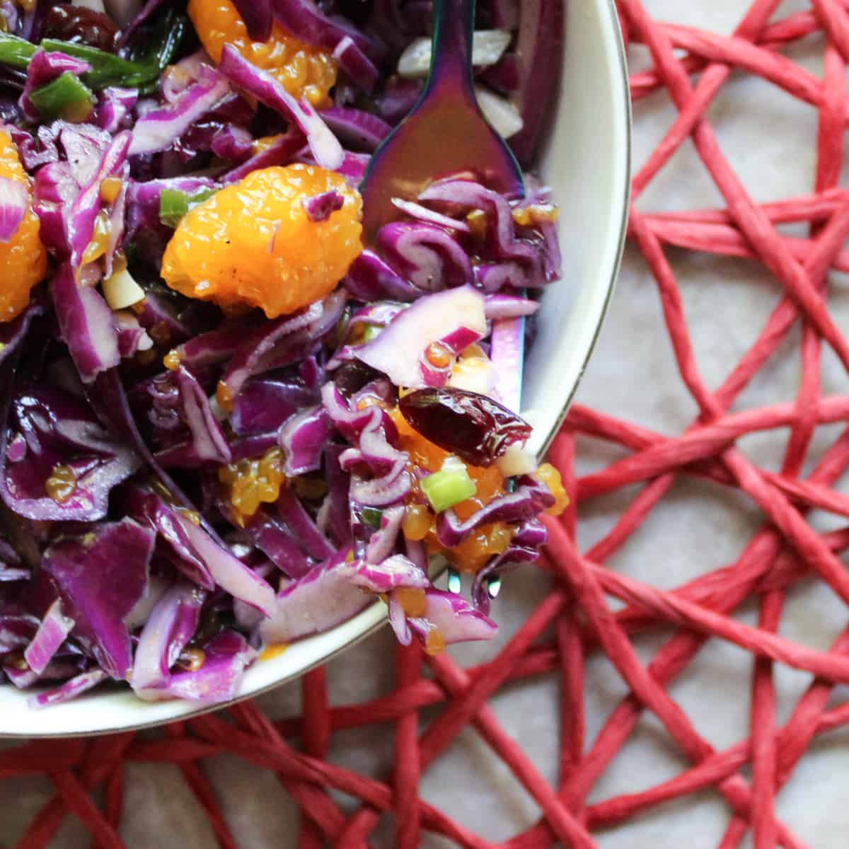 red cabbage salad on a fork