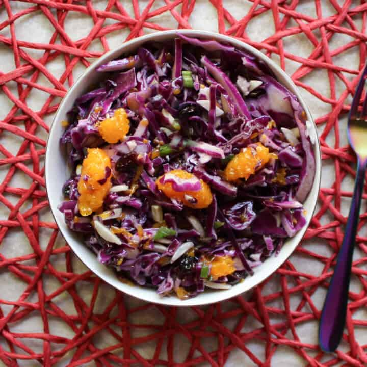 red cabbage salad in a bowl