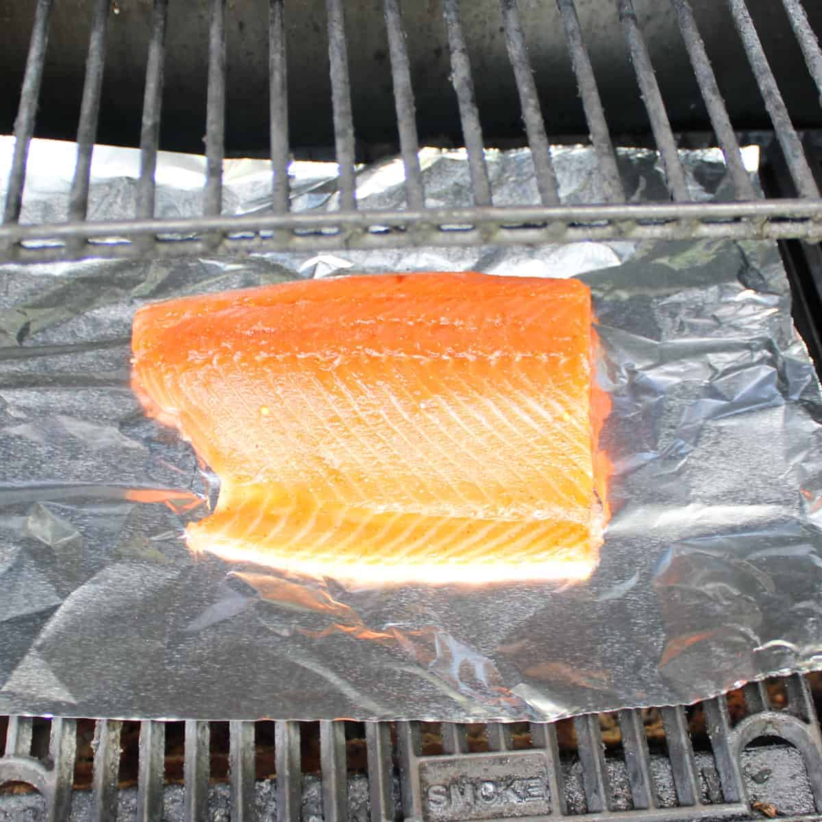 fish on aluminum foil in a smoker