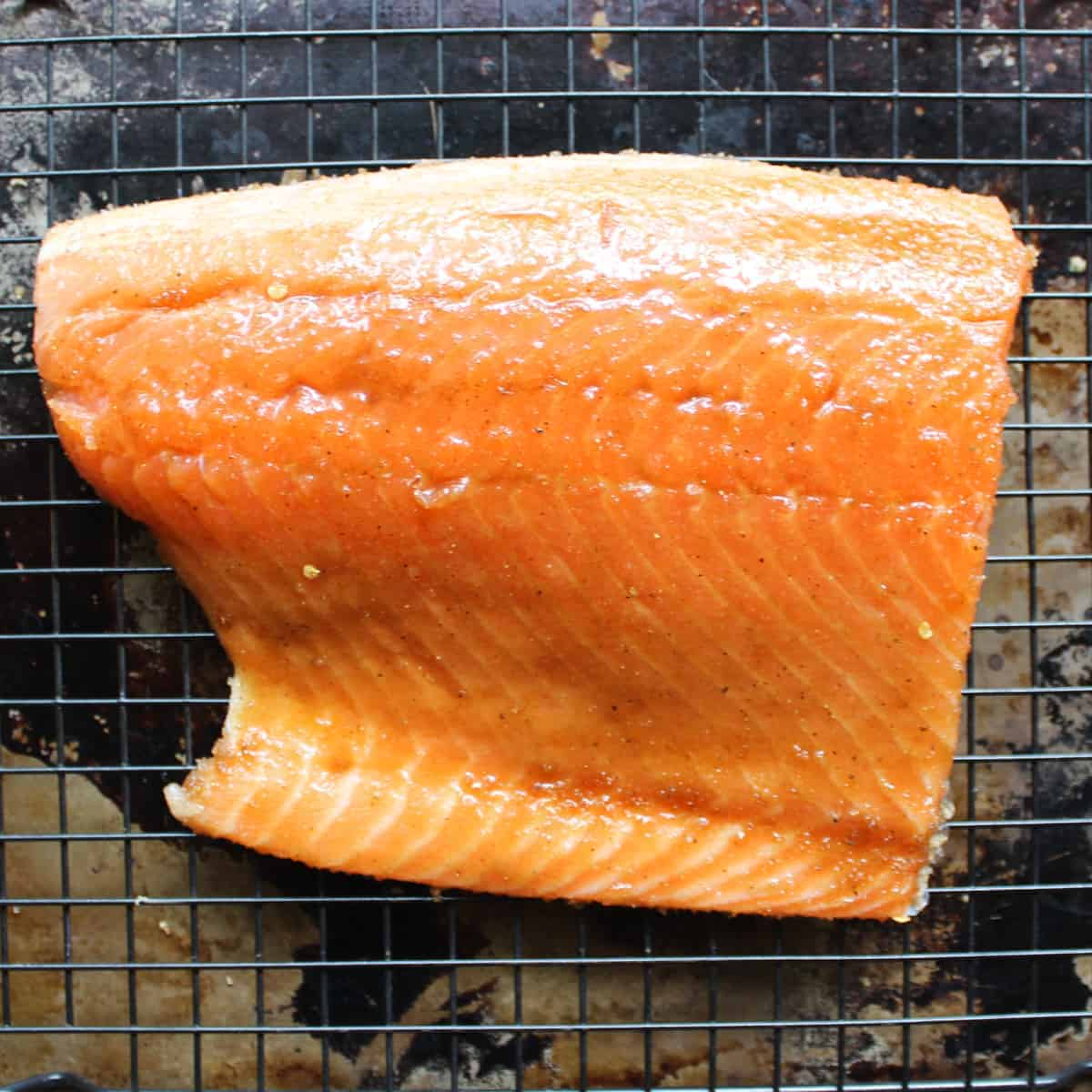 salmon with rub on a wire rack