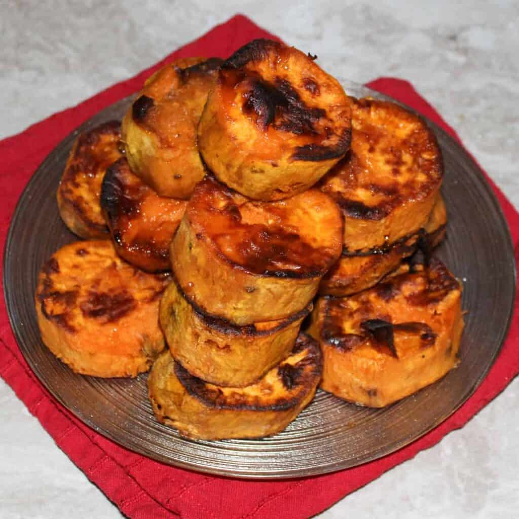 stack of sweet potato medallions on a plate