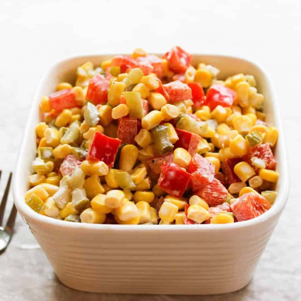 summertime corn salad in a bowl