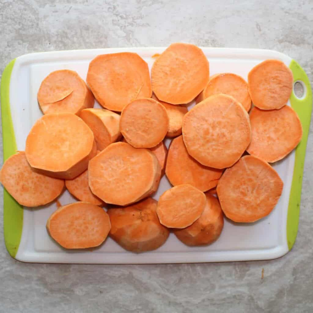 slice the sweet potatoes