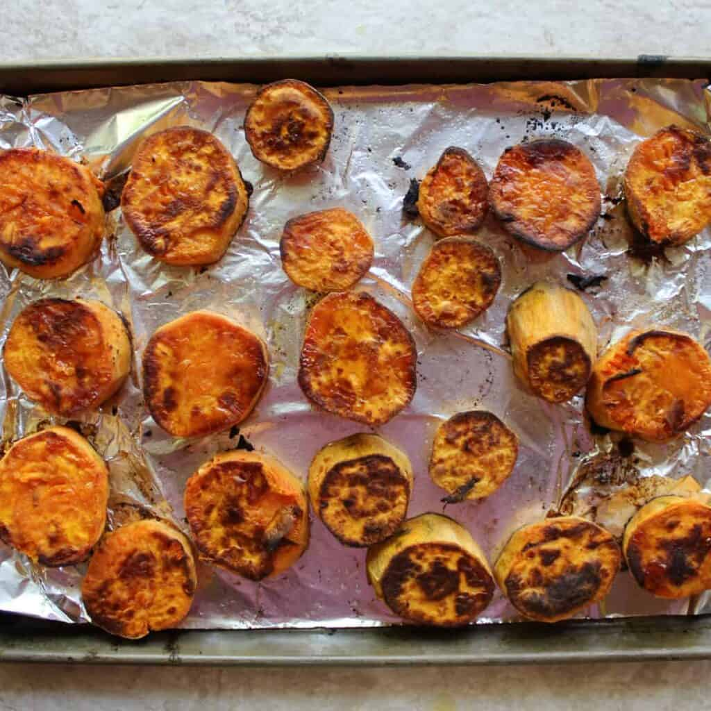 finish baking sweet potato medallions