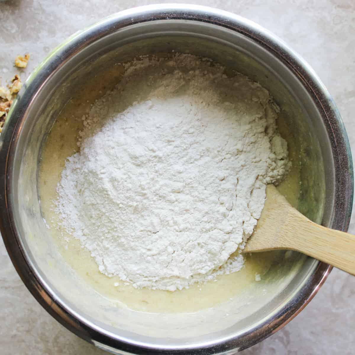 add flour sugar