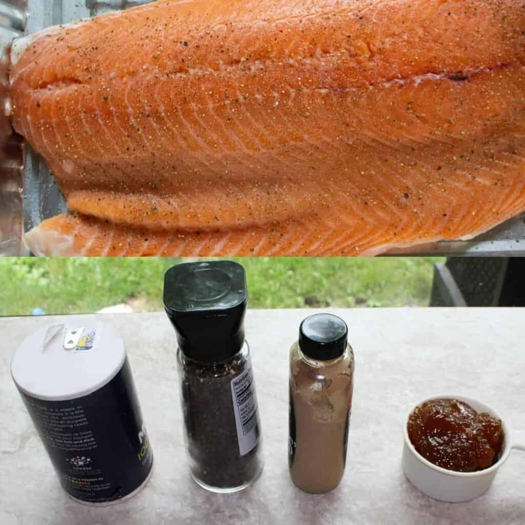 ingredients for easy oven baked salmon with apricot glaze