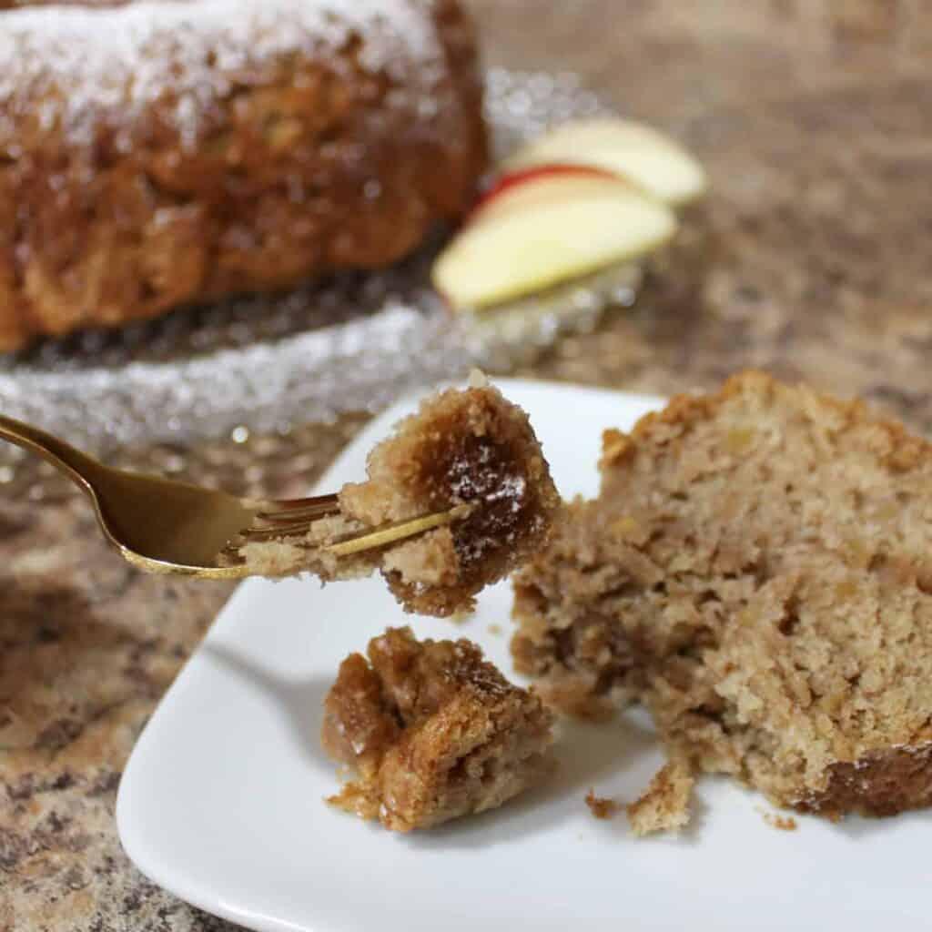 apple cake on a fork