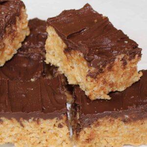 chocolate peanut butter rice krispie treat feature