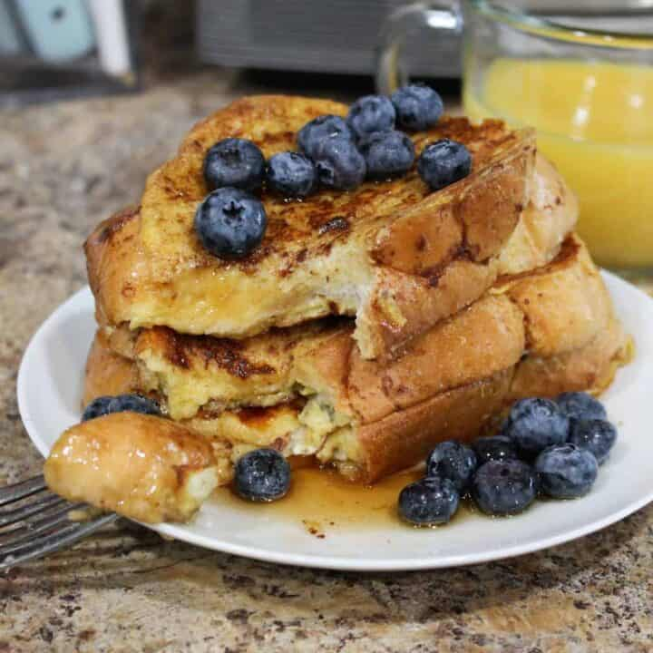challah french toast with blueberries