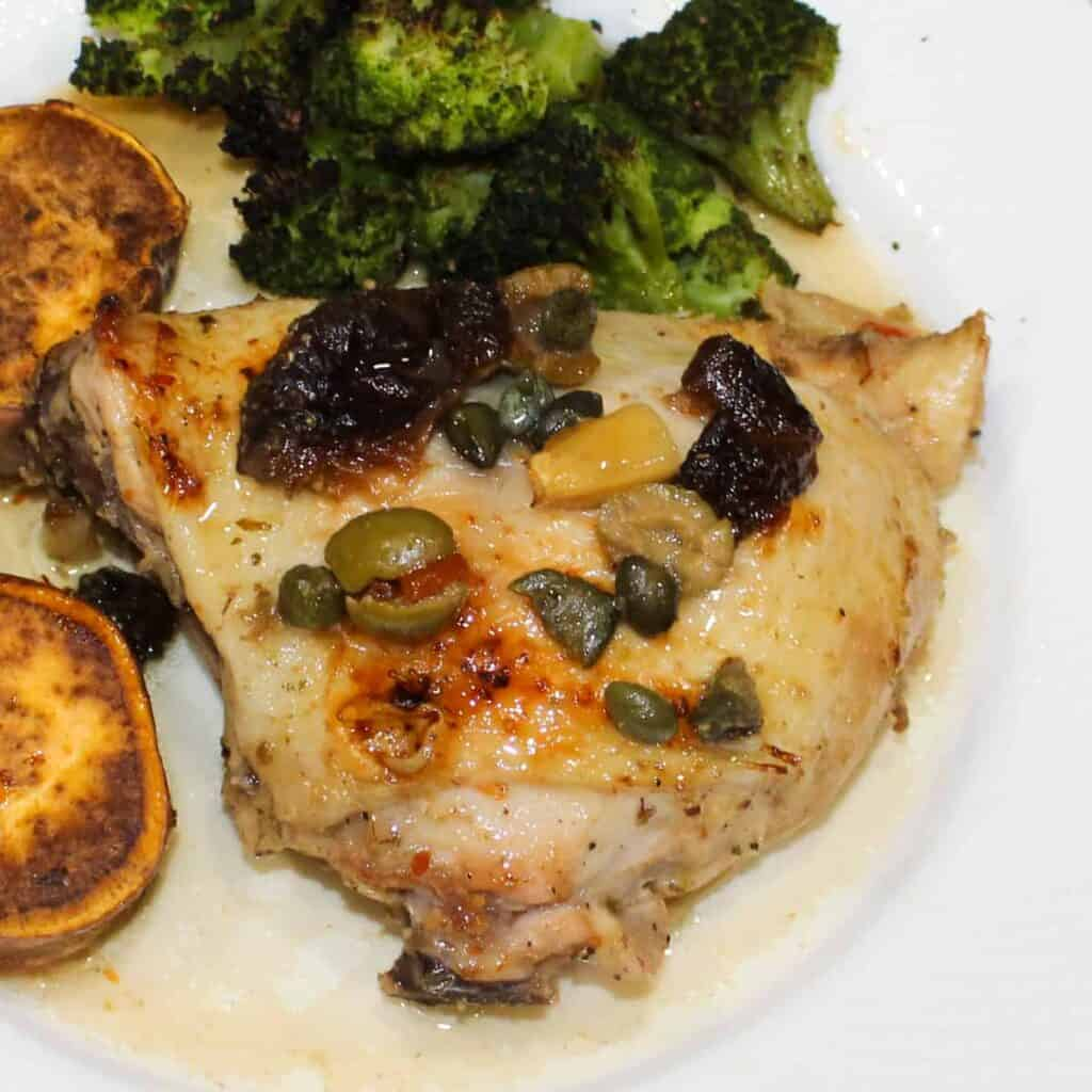 chicken marbella on a plate 2